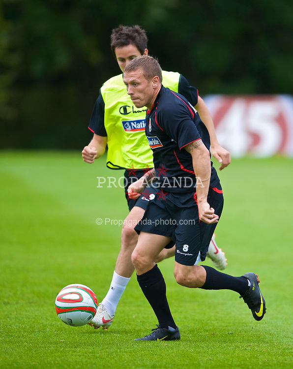 CARDIFF, WALES - Tuesday, September 8, 2009: Wales' captain Craig Bellamy training at the Vale of Glamorgan Hotel ahead of the FIFA World Cup Qualifying Group 3 match against Russia. (Pic by David Rawcliffe/Propaganda)