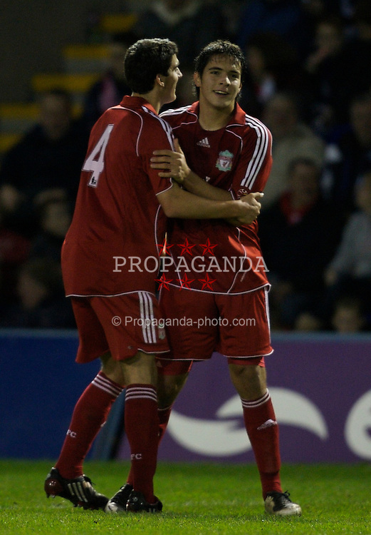 Warrington, England - Tuesday, December 4, 2007: Liverpool's Ronald Huth celebrates scoring the opening goal against Everton with team-mate Mikel San Jose Dominguez during the 'mini-Derby' FA Premiership Reserves League (Northern Division) match at the Halliwell Jones Stadium. (Photo by David Rawcliffe/Propaganda)