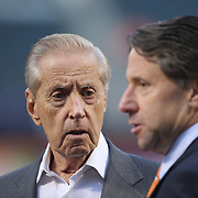 Fred Wilpon, (center), majority owner of the New York Mets, talking with Saul Katz, (left), President of the New York Mets and his son Jeff Wilpon at batting practice before the New York Mets Vs Los Angeles Dodgers, game four of the NL Division Series at Citi Field, Queens, New York. USA. 13th October 2015. Photo Tim Clayton