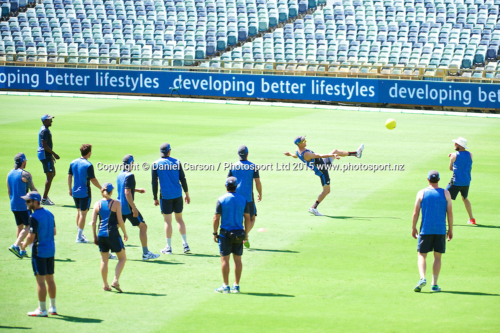 The team plays soccer during the training session on the 12th of November 2015. The New Zealand Black Caps tour of Australia, 2nd test at the WACA ground in Perth, 13 - 17th of November 2015.   Photo: Daniel Carson / www.photosport.nz
