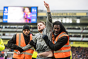 drunk fan and stewards during the Premier League match between Crystal Palace and Newcastle United at Selhurst Park, London, England on 4 February 2018. Picture by Sebastian Frej.
