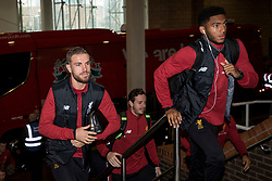 NEWCASTLE-UPON-TYNE, ENGLAND - Sunday, October 1, 2017: Liverpool's Jordan Henderson and Joe Gomez arrive at the stadium before the FA Premier League match between Newcastle United and Liverpool at St. James' Park. (Pic by Paul Greenwood/Propaganda)