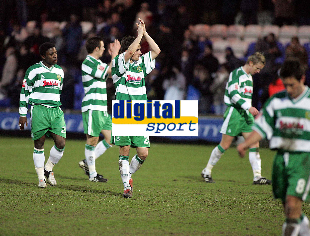 Photo: Paul Thomas. Macclesfield Town v Yeovil Town, Macclesfield. Coca Cola League Two. 05/02/2005. A defeated Yeovil Town team thank their travelling fans after the match.