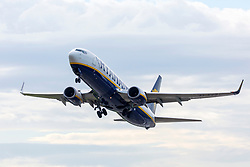 © Licensed to London News Pictures. 10/08/2018. Leeds UK. A Ryanair jet takes of from Leeds Bradford airport this morning. Ryanair pilots are striking in five European countries today forcing the cancellation of a sixth of the firms flights during the holiday season peak. the 24-hour walk out involves staff in Germany, Sweden, Ireland & the Netherlands. About 50,000 passengers are understood to have been told of cancellations on 400 flights. Photo credit: Andrew McCaren/LNP