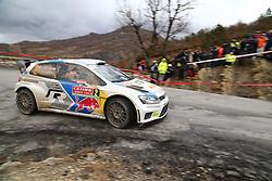 17.01.2014, Stage 10, Sisteron, FRA, FIA, WRC, Rallye Monte Carlo, 2. Tag, im Bild LATVALA Jari Matti / ANTTILA Miikka ( VOLKSWAGEN MOTORSPORT (DEU) / VOLKSWAGEN POLO R ), Aktion / Action // during Stage 10 on day two of FIA Rallye Monte Carlo held near Monte Carlo, France on 2014/01/17. EXPA Pictures © 2014, PhotoCredit: EXPA/ Eibner-Pressefoto/ Neis<br /> <br /> *****ATTENTION - OUT of GER*****