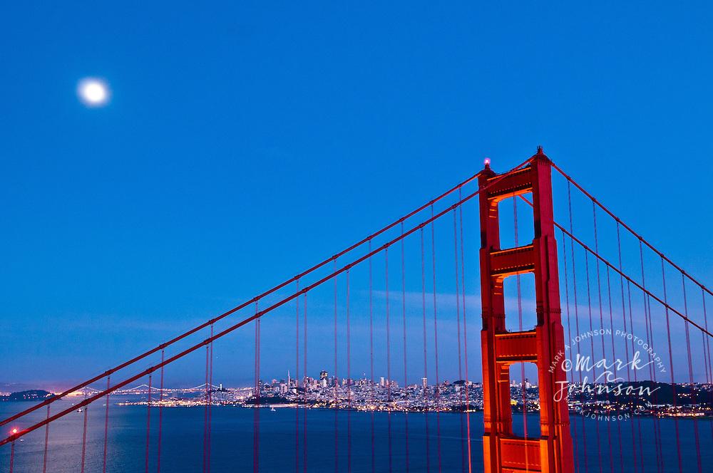 Moon rising over the Golden Gate Bridge, San Francisco, California