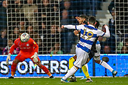 Queens Park Rangers midfielder Ilias Chair (19) shoots towards the goal during the EFL Sky Bet Championship match between Queens Park Rangers and Brentford at the Kiyan Prince Foundation Stadium, London, England on 28 October 2019.