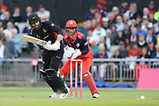 Leicestershire Foxes Arron Lilley  during the Vitality T20 Blast North Group match between Lancashire Lightning and Leicestershire Foxes at the Emirates, Old Trafford, Manchester, United Kingdom on 30 August 2019.
