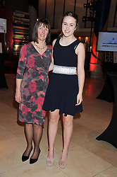 Costa Poetry Award Winner KATHLEEN JAMIE and her daughter FREYA at the Costa Book Awards 2012 held at Quaglino's, 16 Bury Street, London SW1 on 29th January 2013.