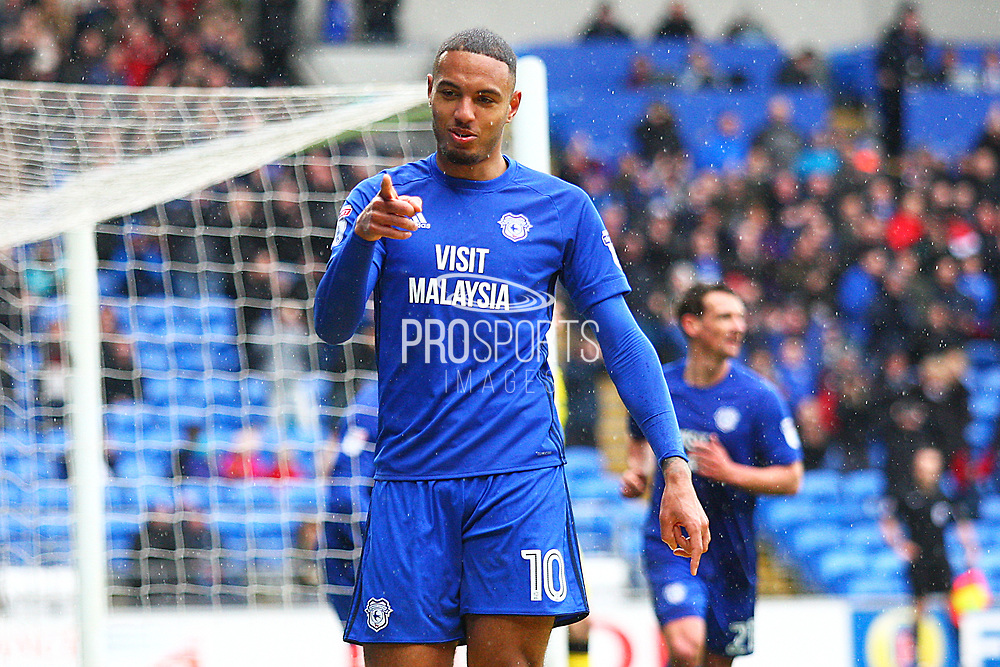 Cardiff City's Kenneth Zohore scores a goal and celebrates 1-0 during the EFL Sky Bet Championship match between Cardiff City and Burton Albion at the Cardiff City Stadium, Cardiff, Wales on 30 March 2018. Picture by John Potts.