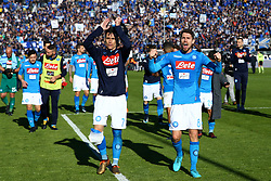 January 21, 2018 - Bergamo, Italy - Jose Maria Callejon and Jorginho of Napoli celebrate the victory at the end of the serie A match between Atalanta BC and SSC Napoli at Stadio Atleti Azzurri d'Italia on January 21, 2018 in Bergamo, Italy. (Credit Image: © Matteo Ciambelli/NurPhoto via ZUMA Press)