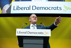 © Licensed to London News Pictures . 16/09/2019. Bournemouth, UK. Deputy Leader ED DAVEY delivers his speech during the Liberal Democrat Party Conference at the Bournemouth International Centre . Photo credit: Joel Goodman/LNP