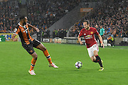 Manchester United player Daley Blind (17) and Hull City midfielder Ahmed Elmohamady (27)  during the Premier League match between Hull City and Manchester United at the KCOM Stadium, Kingston upon Hull, England on 27 August 2016. Photo by Ian Lyall.