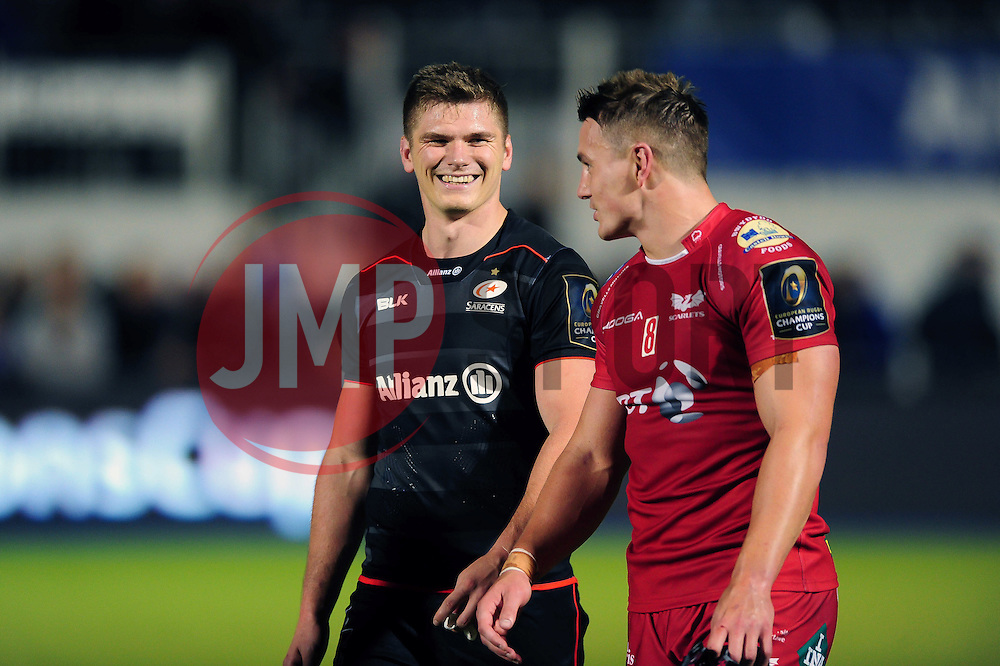 Owen Farrell of Saracens shares a joke with Jonathan Davies of the Scarlets after the match - Mandatory byline: Patrick Khachfe/JMP - 07966 386802 - 22/10/2016 - RUGBY UNION - Allianz Park - London, England - Saracens v Scarlets - European Rugby Champions Cup.