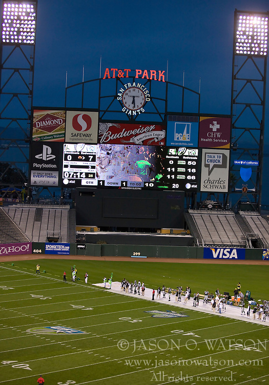 October 17, 2009; San Francisco, CA, USA;   The California Redwoods hosted the New York Sentinels at AT&T Park.  California won 24-7.  California won 24-7.