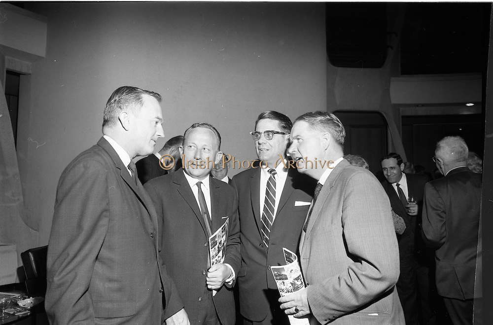 18/09/1967<br /> 09/18/1967<br /> 18 September 1967<br /> Mr Paul A. Fabry, Managing Director, International House, New Orleans, Reception for New Orleans Delegation at the United States Embassy, Dublin. Image shows James W. Martin, Director of Trade Development, Port of New Orleans; Board Member of International House; Dr Donal O'Sullivan; Albert J. Ruhlman, President, Albert J. Ruhlman Corporation and Mr (illegible).