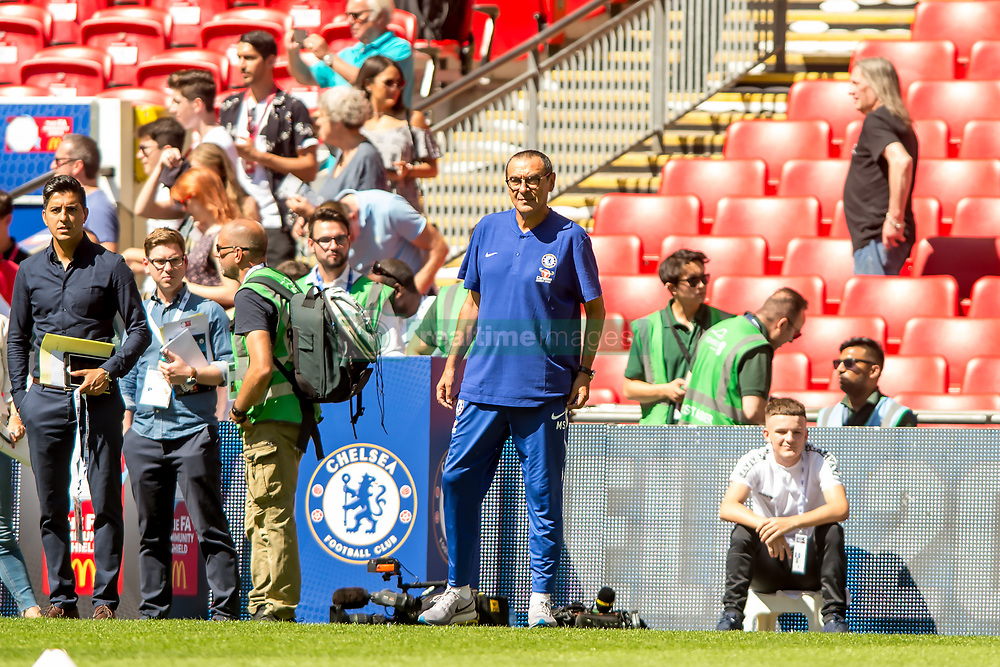 August 5, 2018 - Maurizio Sarri manager of Chelsea during the 2018 FA Community Shield match between Chelsea and Manchester City at Wembley Stadium, London, England on 5 August 2018. Photo by Salvio Calabrese. (Credit Image: © AFP7 via ZUMA Wire)