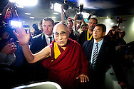 10-5-2014 - SCHIPHOL The Dalai Lama arrives at Schiphol for a three day visit to the Netherlands. Right Erica Terpstra.COPYRIGHT ROBIN UTRECHT