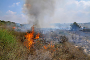 burning field caused by Kite bombs that were flown from Gaza with a lit petrol soaked cloth, to set fires to Israeli fields and crops. Photographed on July 13, 2018