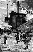 Blast furnaces at Siemens Iron and Steel Works, Landore, South Wales. Wood engraving 1885