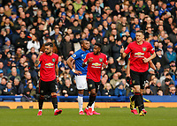 Football - 2019 / 2020 Premier League - Everton vs. Manchester United<br /> <br /> Bruno Fernandes of Manchester United gestures towards the technical area after he scores in the first half to level the scores at 1-1, at Goodison Park.<br /> <br /> COLORSPORT/ALAN MARTIN