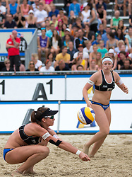 30.07.2014, Strandbad, Klagenfurt, AUT, FIVT, A1 Beachvolleyball Grand Slam 2014, Hauptrunde, im Bild Katharina Schützenhofer (AUT), Lena Plesiutschnig (AUT) // during Main Draw Match of the A1 Beachvolleyball Grand Slam at the Strandbad Klagenfurt, Austria on 2014/07/30. EXPA Pictures © 2014, EXPA Pictures © 2014, PhotoCredit: EXPA/ Johann Groder