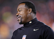 Pittsburgh Steelers outside linebackers coach Joey Porter smiles on the sideline before the NFL AFC Wild Card playoff football game against the Cincinnati Bengals on Saturday, Jan. 9, 2016 in Cincinnati. The Steelers won the game 18-16. (©Paul Anthony Spinelli)