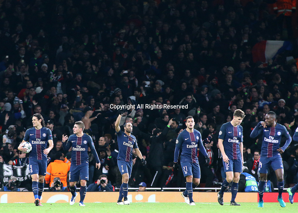 23.11.2016. Emirates Stadium, London, England. UEFA Champions League Football. Arsenal versus Paris Saint Germain. Paris Saint-Germain Midfielder Lucas points to the sky in celebration after levelling the score at 2-2 with a far-post header