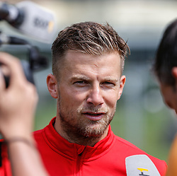 24.07.2015, Sportplatz, Walchsee, AUT, Trainingslager, FC Augsburg, im Bild Daniel Baier (FC Augsburg #10), Interview, Foto: Eibner // during the Trainingscamp of German Bundesliga Club FC Augsburg at the Sportplatz in Walchsee, Austria on 2015/07/24. EXPA Pictures © 2015, PhotoCredit: EXPA/ Eibner-Pressefoto/ Krieger<br /> <br /> *****ATTENTION - OUT of GER*****
