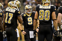 28 November 2011: Quarterback (9) Drew Brees of the New Orleans Saints calls his huddle against the New York Giants during the second half of the Saints 49-24 victory over the Giants at the Mercedes-Benz Superdome in New Orleans, LA.