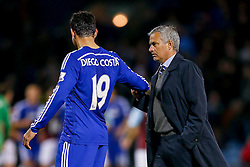 Manager Jose Mourinho of Chelsea shakes hands with goalscorer Diego Costa after Chelsea win 1-3 - Photo mandatory by-line: Rogan Thomson/JMP - 07966 386802 - 18/08/2014 - SPORT - FOOTBALL - Burnley, England - Turf Moor Stadium - Burnley v Chelsea - Barclays Premier League.