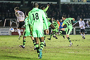 Forest Green Rovers Liam Noble(15) shoots at goal goalkeeper makes a save during the Vanarama National League match between Bromley FC and Forest Green Rovers at Hayes Lane, Bromley, United Kingdom on 7 January 2017. Photo by Shane Healey.