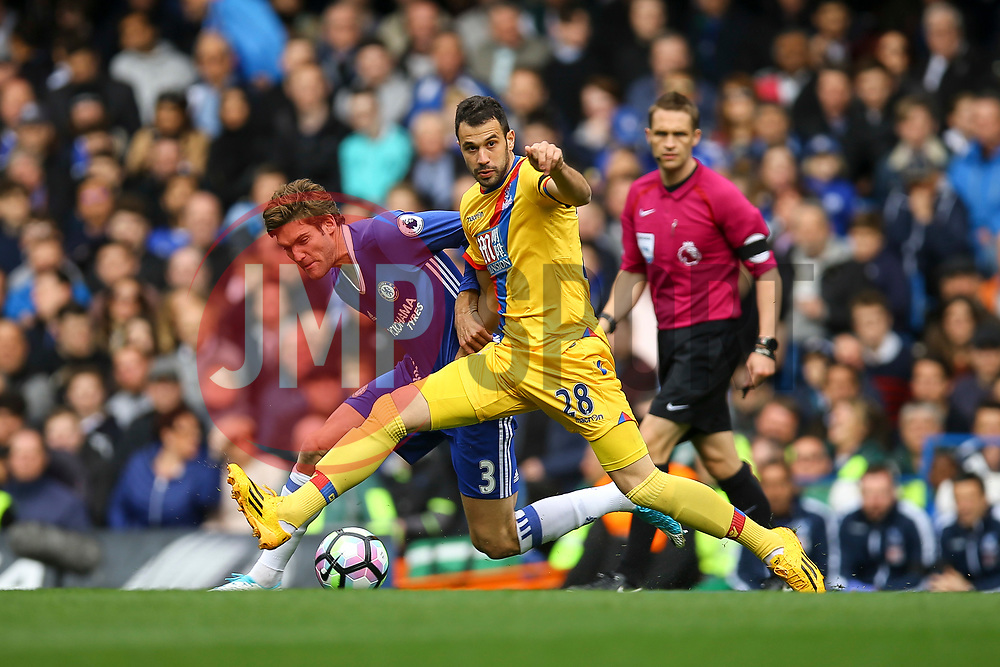 Cesar Azpilicueta of Chelsea blocks Marcos Alonso of Chelsea - Mandatory by-line: Jason Brown/JMP - 01/04/2017 - FOOTBALL - Stamford Bridge - London, England - Chelsea v Crystal Palace - Premier League