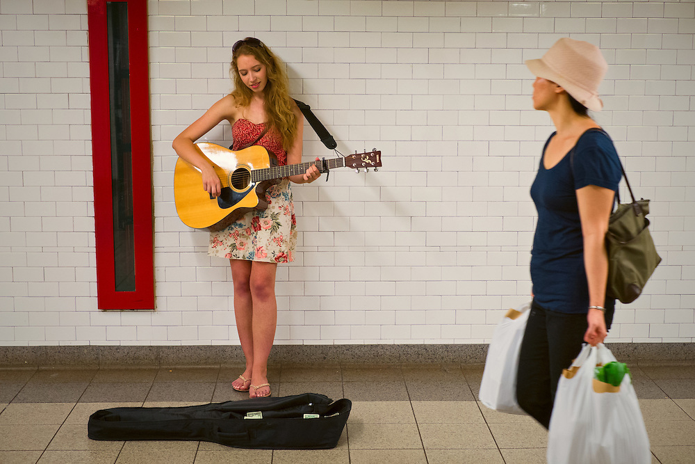 Catherine Greenfield performing in Union Square station, New York, NY