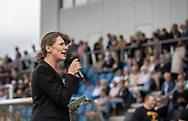 Borgmester Benedikte Kiær taler ved indvielsen af Helsingør Kommunes nye stadion på Gl. Hellebækvej i Helsingør den 8. august 2019 (Foto: Claus Birch)