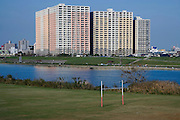 residential apartment high rise on the outskirts of Tokyo with Edogawa river