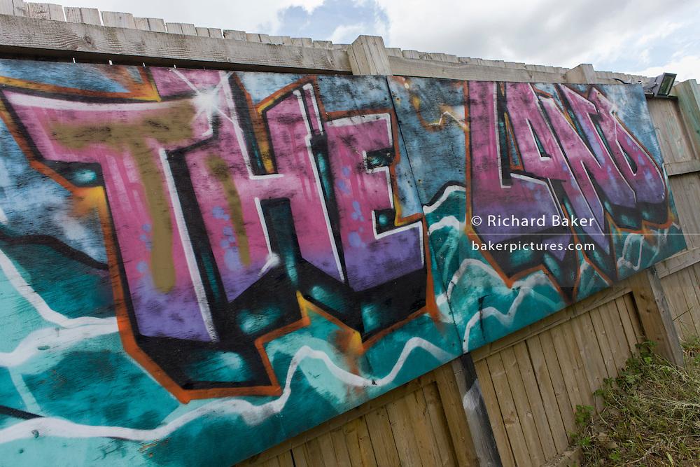 Risk averse playground called The Land on Plas Madoc Estate, Ruabon, Wrexham, Wales.
