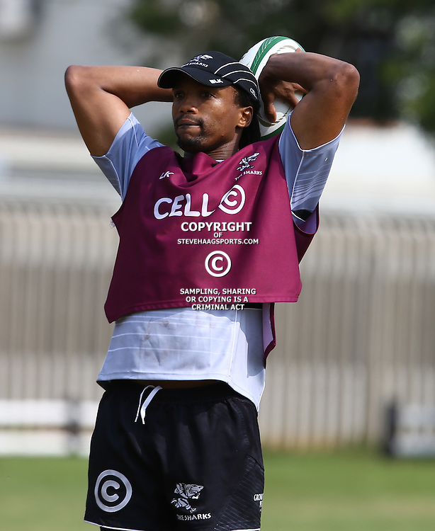 DURBAN, SOUTH AFRICA, 16 August, 2016 - Odwa Ndungane during The Cell C Sharks  Press Conference and Currie Cup training session at Growthpoint Kings Park in Durban, South Africa. (Photo by Steve Haag)<br /> <br /> images for social media must have consent from Steve Haag