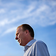 Mayoral candidate Kevin Faulconer talks to reporters on Tuesday afternoon during a last push of the campaign.