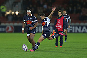 Agen scrum half Hugo Verdu (9) coverts the ball 21-6 first half during the European Rugby Challenge Cup match between Gloucester Rugby and SU Agen at the Kingsholm Stadium, Gloucester, United Kingdom on 19 October 2017. Photo by Gary Learmonth.