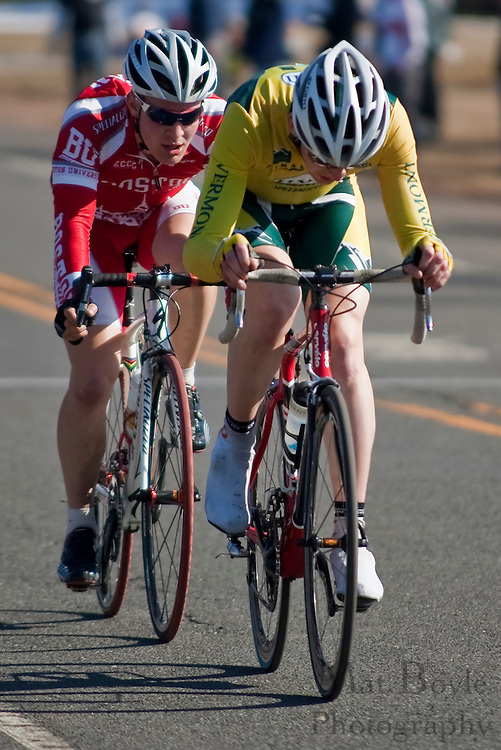 Cyclists from the University of Vermont and Boston College compete at Rutger's Frozen-Toed, the first race of the ECCC's (Eastern Collegiate Cycling Conference) 2010 road season.