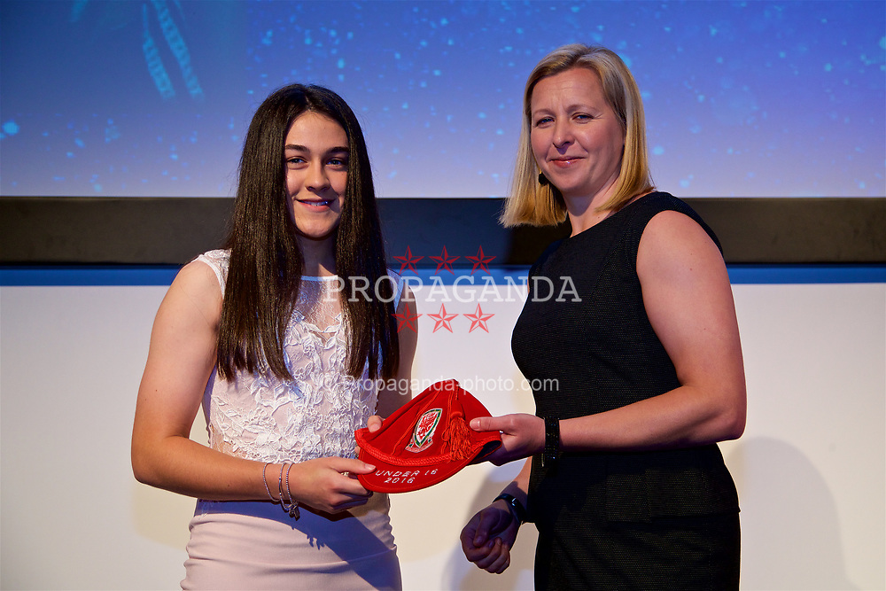NEWPORT, WALES - Saturday, May 27, 2017: Meesha Dudley-Jones receives her Under-16 Wales cap from Wales women's team manager Jayne Ludlow at the Celtic Manor Resort. (Pic by David Rawcliffe/Propaganda)