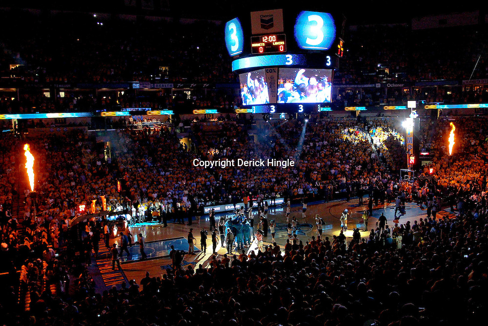 April 22, 2011; New Orleans, LA, USA; A general view during player introductions before tip off of game three of the first round of the 2011 NBA playoffs between the New Orleans Hornets and the Los Angeles Lakers at the New Orleans Arena. The Lakers defeated the Hornets 100-86.   Mandatory Credit: Derick E. Hingle