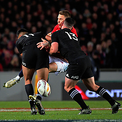 Rieko Ioane and Ryan Crotty tackle Liam Williams during the 2017 DHL Lions Series rugby union match between the NZ All Blacks and British & Irish Lions at Eden Park in Auckland, New Zealand on Saturday, 24 June 2017. Photo: Dave Lintott / lintottphoto.co.nz