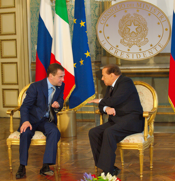 MILAN, ITALY - JULY 23:  &nbsp; Italian Prime Minister Silvio Berlusconi in conversation with Russian President Dimitry Medvedev ahead of the press conference at Palazzo della Provincia on July 23, 2010 in Milan, Italy. Italian Prime Minister Berlusconi and Russian Prime Minister Medvedev will discuss issues related to Russia's relations with NATO and the EU, energy security, and the development of bilateral trade and economic relations. .***Agreed Fee's Apply To All Image Use***.Marco Secchi /Xianpix. tel +44 (0) 207 1939846. e-mail ms@msecchi.com .<br />  www.marcosecchi.com