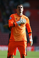 Football - 2016 / 2017 Premier League - Southampton vs. Hull City<br /> <br /> Hulls hero Eldin Jakupovic acknowledges the traveling away fans after his penalty save earnt a draw at St Mary's Stadium Southampton<br /> <br /> COLORSPORT/SHAUN BOGGUST