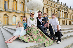 EMBARGOED FOR WEB AND APPS IN FRANCE UNTIL MAY 14, 2016 - Exclusive - Tori Spelling with her husband Dean McDermott and their children Finn Davey, Liam Aaron, Stella Doreen, Hattie Margaret visit the Chateau de Versailles, Versailles, France on April 20, 2016. Photo by ABACAPRESS.COM  | 543701_022 Versailles France