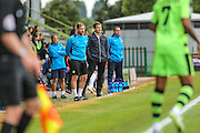 The managers of both teams keep an eye on precedings during the Vanarama National League match between Forest Green Rovers and Bromley FC at the New Lawn, Forest Green, United Kingdom on 17 September 2016. Photo by Shane Healey.