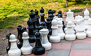 Chess set in a New Denver local park. New Denver, British Columbia, Canada.
