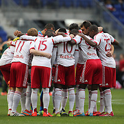 New York Red Bulls players in a huddle before the New York Red Bulls Vs Portland Timbers, Major League Soccer regular season match at Red Bull Arena, Harrison, New Jersey. USA. 24th May 2014. Photo Tim Clayton